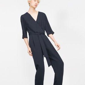 Zara Crossover Jumpsuit in Navy